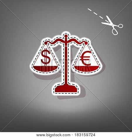 Justice scales with currency exchange sign. Vector. Red icon with for applique from paper with shadow on gray background with scissors.