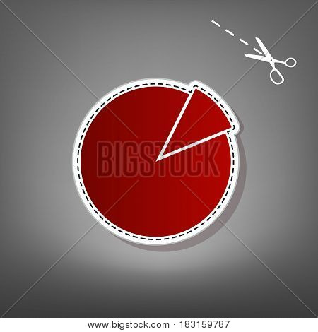 Finance graph sign. Vector. Red icon with for applique from paper with shadow on gray background with scissors.
