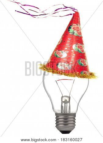 Bulb in Christmas cap on a white background