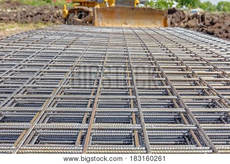 View on perspective over square reinforcement for concrete.