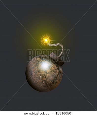 A metal bomb with a burning wick on a gray background. 3d illustration. Template for your design