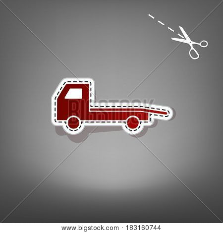 Service of evacuation sign. Wrecking car side. Car evacuator. Vehicle towing. Vector. Red icon with for applique from paper with shadow on gray background with scissors.