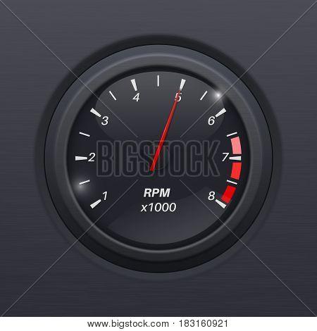 Tachometer. Black gauge. Classic car computer dashboard. Vector 3d illustration