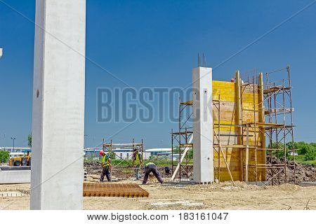 Zrenjanin, Vojvodina, Serbia - May 30, 2015: Preparation is in progress to assembly wooden mold for concrete pouring.