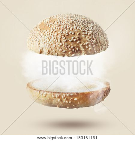 Burger against white background