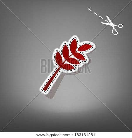 Tree branch sign. Vector. Red icon with for applique from paper with shadow on gray background with scissors.