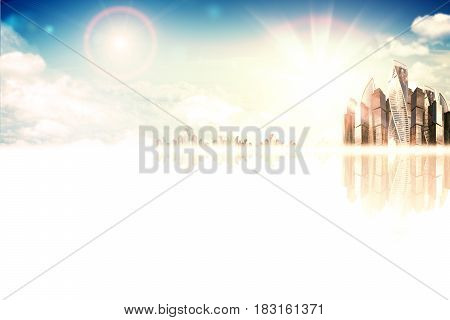 Abstract composition. High-rise business building against the blue sky with the sun. Below is a white plane with reflections. Empty place for your content