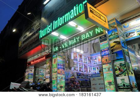 HO CHI MINH CITY VIETNAM - NOVEMBER 27, 2016: Travel agent office in Pham Ngu Lao street. Pham Ngu Lao street is a famous backpacker street.
