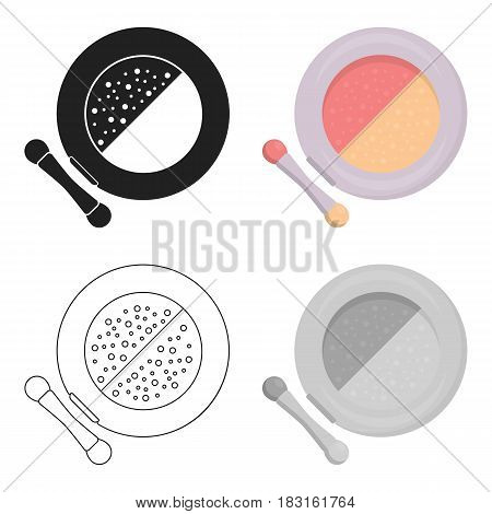 Face powder icon in cartoon style isolated on white background. Make up symbol vector illustration.