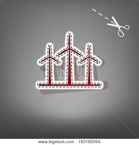 Wind turbines sign. Vector. Red icon with for applique from paper with shadow on gray background with scissors.