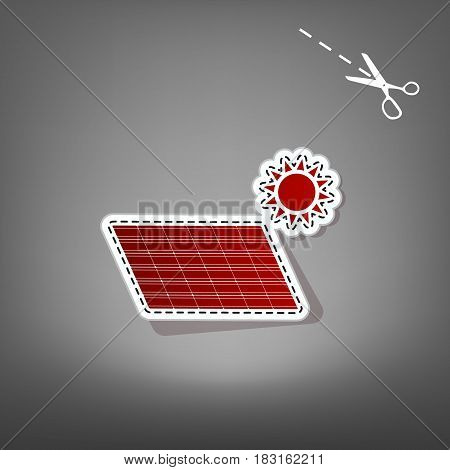 Solar energy panel. Eco trend concept sign. Vector. Red icon with for applique from paper with shadow on gray background with scissors.