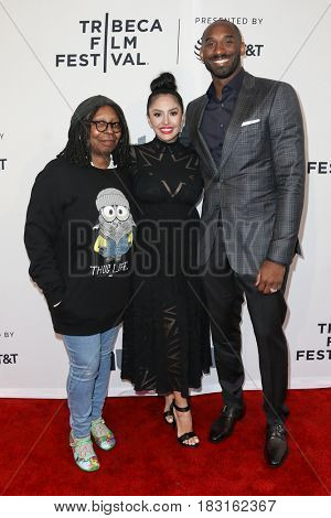 NEW YORK-APR 22: (L-R) Whoopi Goldberg, Vanessa Bryant and Kobe Bryant attend the 'Dear Basketball' screening at SVA Theatre during the 2017 TriBeCa Film Festival on April 22, 2017 in New York City.