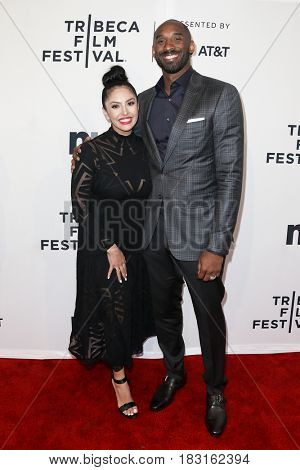 NEW YORK-APR 22: Former NBA player Kobe Bryant (R) and wife Vanessa attend the 'Dear Basketball' screening at SVA Theatre during the 2017 TriBeCa Film Festival on April 22, 2017 in New York City.