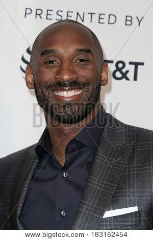 NEW YORK-APR 22: Former NBA player Kobe Bryant attends the 'Dear Basketball' screening at SVA Theatre during the 2017 TriBeCa Film Festival on April 22, 2017 in New York City.
