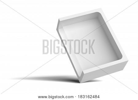 White empty packing cardboard box. In the box cutout in the middle. The box stands on the corner. Isolated on white background. 3D illustration