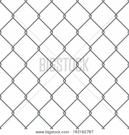 Fence made of metal wire. Seamless pattern isolated on white background. Stock vector illustration.