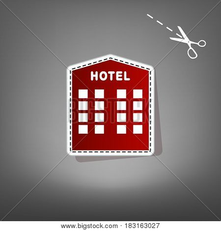 Hotel sign. Vector. Red icon with for applique from paper with shadow on gray background with scissors.