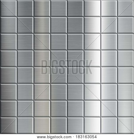 Texture of brushed metal with a geometric pattern. Industrial background. Stock vector illustration.