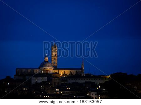 Night shot of the Siena Cathedral at night
