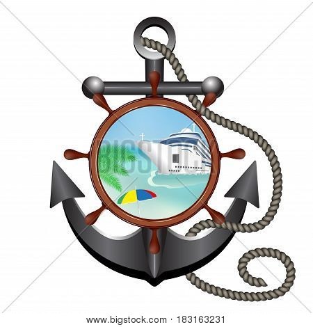 Anchor rope helm and porthole with the ship and island. Concept advertising sea travel. Vector illustration.