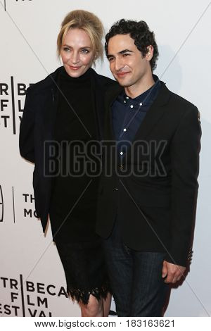 NEW YORK-APR 22: Actress Uma Thurman (L) and designer Zac Posen attend the 'House Of Z' screening at SVA Theatre during the 2017 TriBeCa Film Festival on April 22, 2017 in New York City.