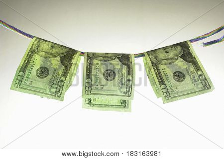 the dollars banknote on a white background