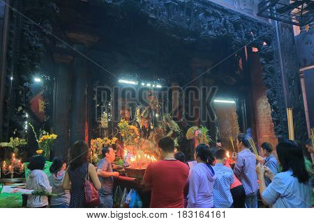 HO CHI MINH CITY VIETNAM - NOVEMBER 29, 2016: Unidentified people visit Emperor Jade Temple. Emperor Jade Temple was built by the Chinese community in 1910