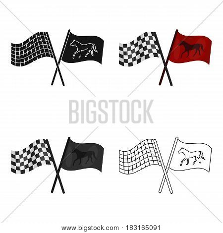 Crossed checkered and equestrian flags icon in cartoon design isolated on white background. Hippodrome and horse symbol stock vector illustration.