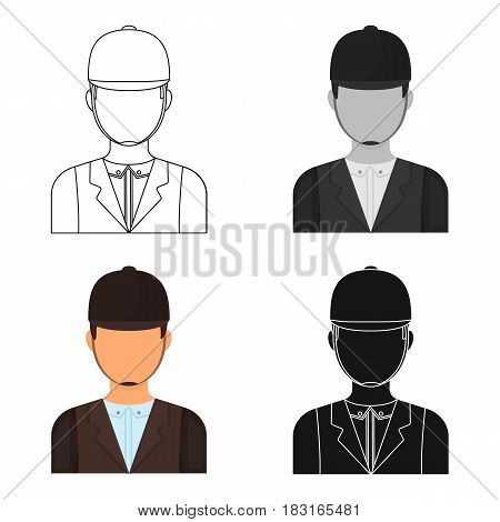 Jockey icon in cartoon design isolated on white background. Hippodrome and horse symbol stock vector illustration.