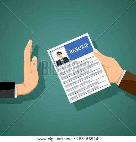 Man holds a resume in his hand. Job search and unemployment. Stock vector illustration.