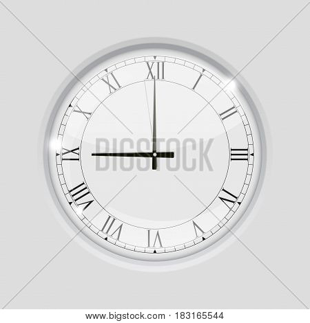 Clock with roman numerals. 9 o clock. Vector illustration