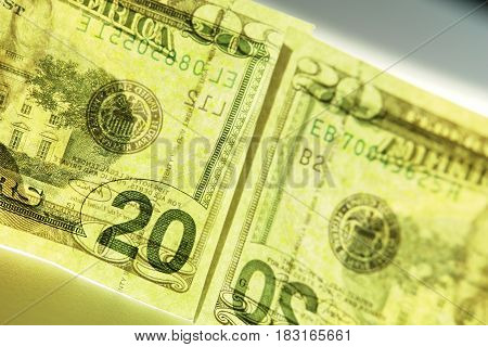 banknote 20 american dollar on a white background