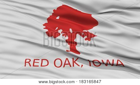 Closeup of Red Oak City Flag, Waving in the Wind, Iowa State, United States of America