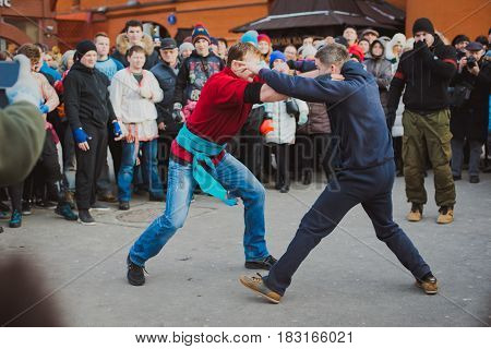 Russia. Moscow. Red Square. February 26, 2017. mass brawl of hooligans and fans in the center of Moscow. Street Fight