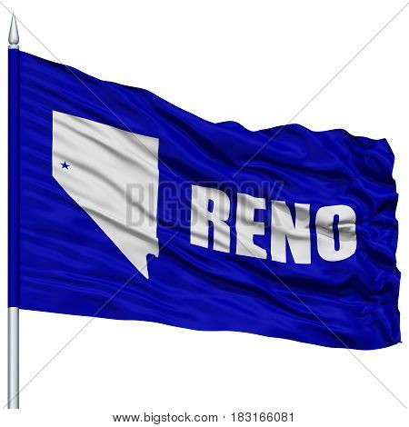 Reno City Flag on Flagpole, Nevada State, Flying in the Wind, Isolated on White Background