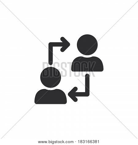 Human resources symbol. Users with arrows icon vector solid logo illustration pictogram isolated on white