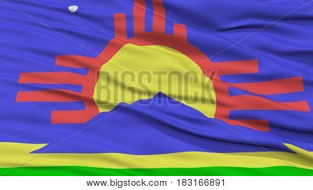 Closeup of Roswell City Flag, Waving in the Wind, New Mexico State, United States of America