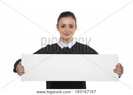 Beautiful Cheerful Woman Holding A Blank Billboard, Copy Space