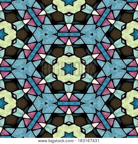 mosaic kaleidoscope seamless pattern texture background - multi colored with black grout
