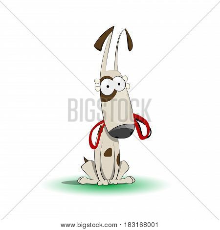 Happy cartoon puppy with leash waiting for walk. Vector illustration