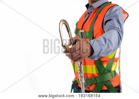 Engineer Wear Fall Arrest Equipment On White Background