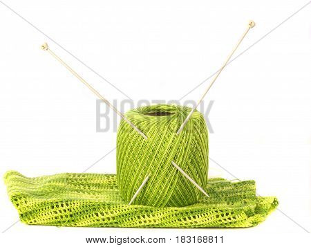 ball, spokes and knitting isolated on a white background
