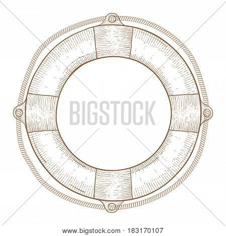 Lifebuoy. Hand drawn sketch. Vector illustration isolated on white background