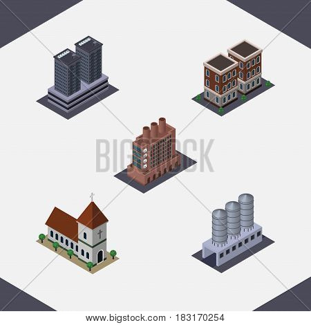 Isometric Urban Set Of Tower, Industry, Water Storage And Other Vector Objects. Also Includes Factory, Skyscraper, Chapel Elements.