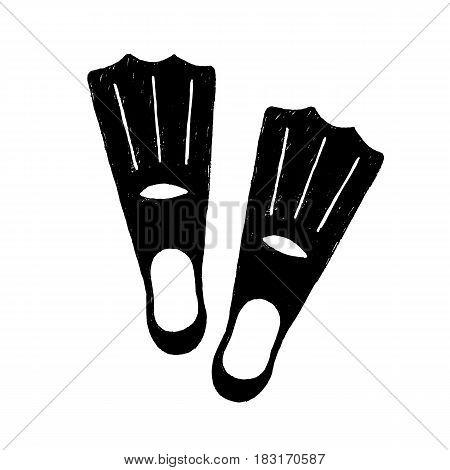 Hand drawn textured diving fins vector illustration.