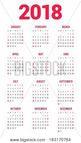 Calendar For 2018 Year On White Background. Week Starts On Sunday. 3 Columns, 4 Rows. Simple Vector