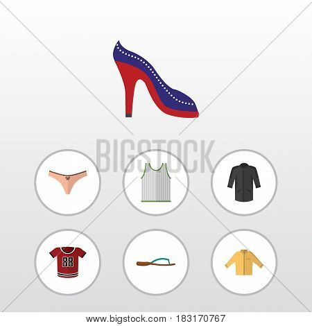 Flat Garment Set Of Uniform, Banyan, Beach Sandal Vector Objects. Also Includes Uniform, Flop, Tank Elements.
