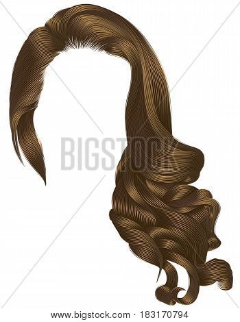woman trendy long curly brunette hairs wig  brown colors . retro style . beauty fashion . realistic 3d .