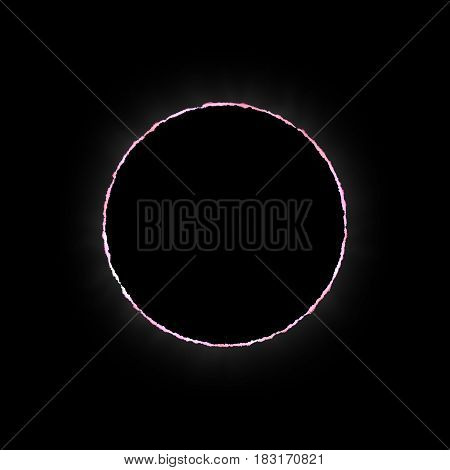 Solar Eclipse of the Sun High Quality Realistic Illustration, Moon in front of the Red Sun