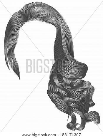 woman trendy long curly hairs wig gray colors . retro style . beauty fashion . realistic 3d .